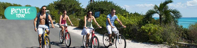 A group of friends having a bicycle ride on Isla Mujeres