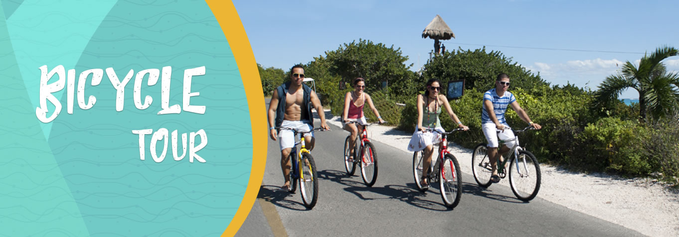 A group of friends taking a bicycle ride around Isla Mujeres