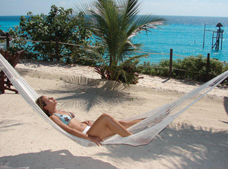 Hammocks and Lounge chairs in Garrafon Park, Cancun, Isla Mujeres